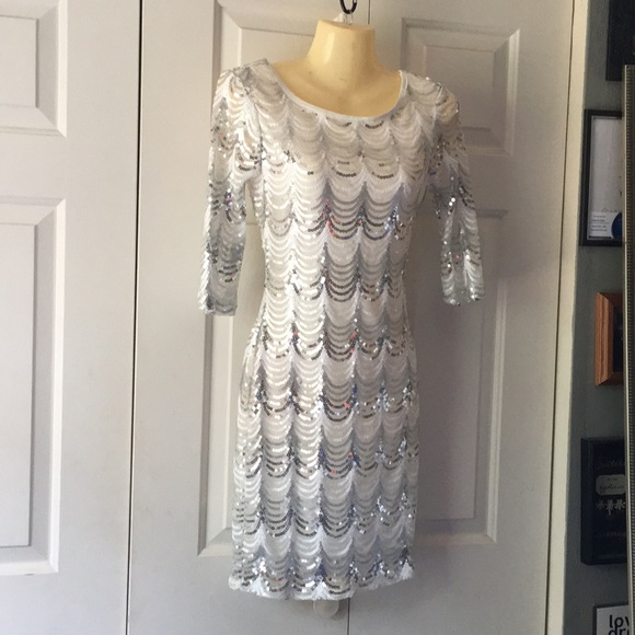 Crystal Doll Dresses & Skirts - Small white and silver sequin cocktail dress